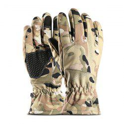 Outdoor Sports Waterproof  Windproof Warm Plus Velvet Thick Touch Screen Riding Full Finger Gloves -