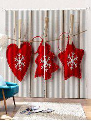 2PCS Christmas Snowflake Wooden Pattern Window Curtains -
