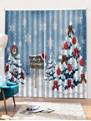 2PCS Merry Christmas Snowflake Tree Pattern Window Curtains -