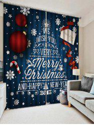 2PCS Merry Christmas Happy New Year Pattern Window Curtains -