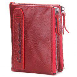 Men Wallet Leather Short Clutch Bag Fashion Purse Leather Double Zip -