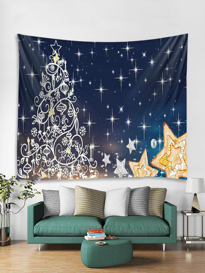 Shop Christmas Tree Stars Print Tapestry Wall Hanging Decoration
