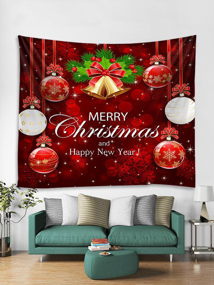 Discount Christmas Balls Bells Print Tapestry Wall Hanging Decoration