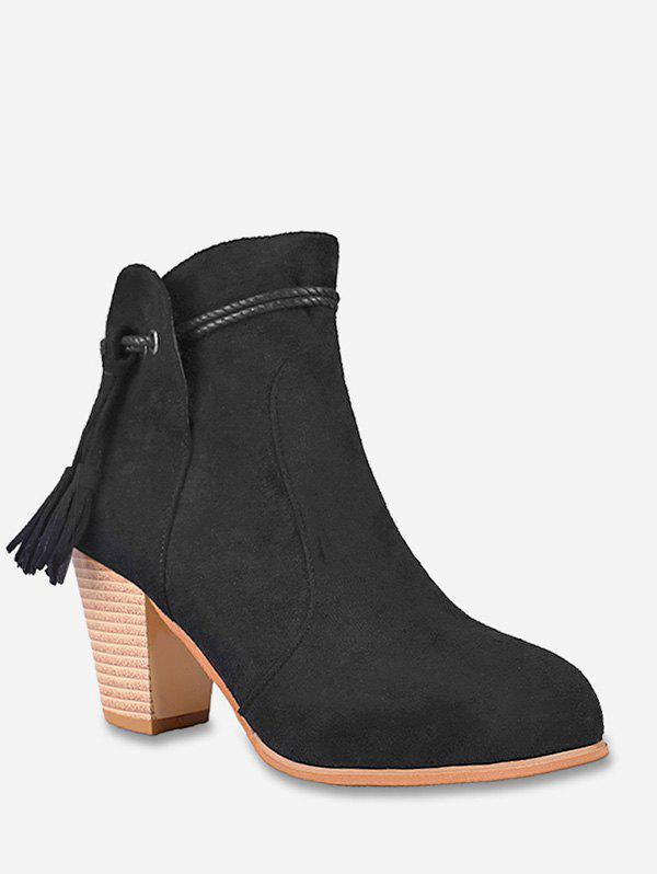 Online Fringe Detail Suede Chunky Heel Boots