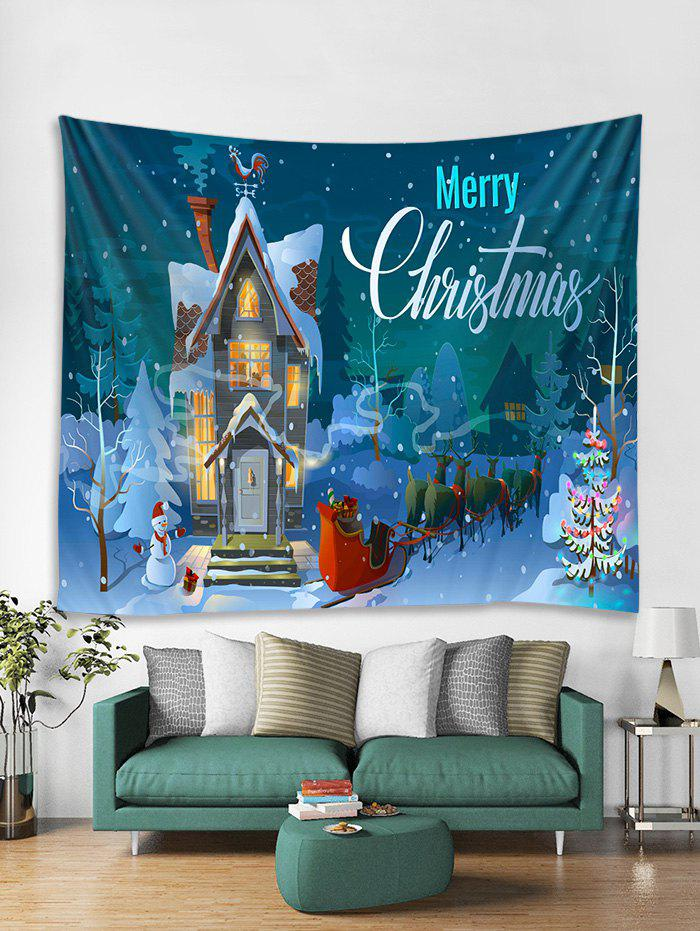 Discount Christmas Night Castle Print Tapestry Wall Hanging Decor