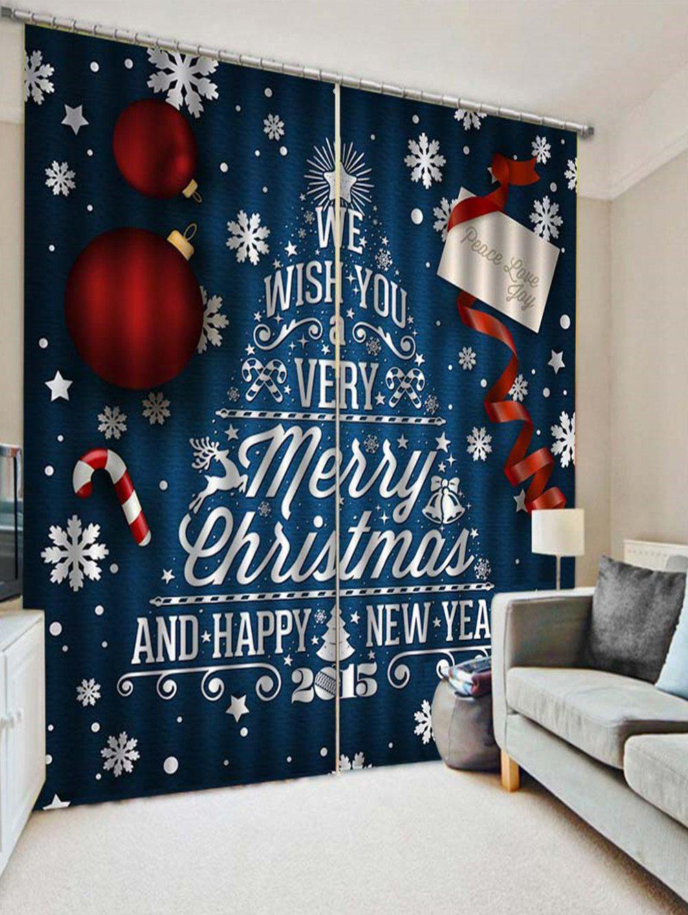 2PCS Merry Christmas Happy New Year Pattern Window Curtains