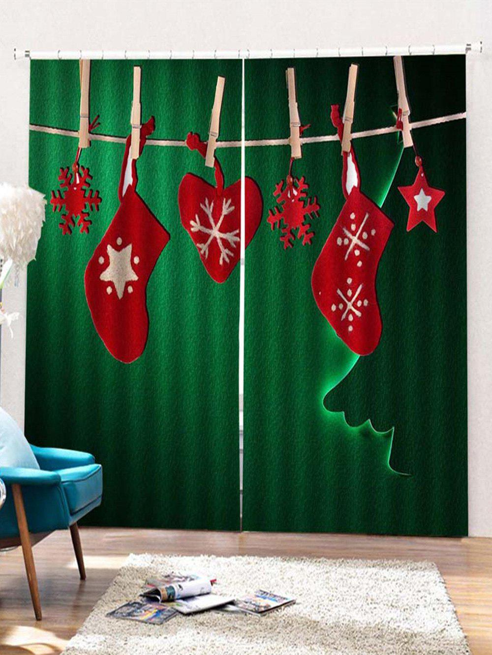 Chic 2PCS Christmas Snowflake Star Stocking Window Curtains