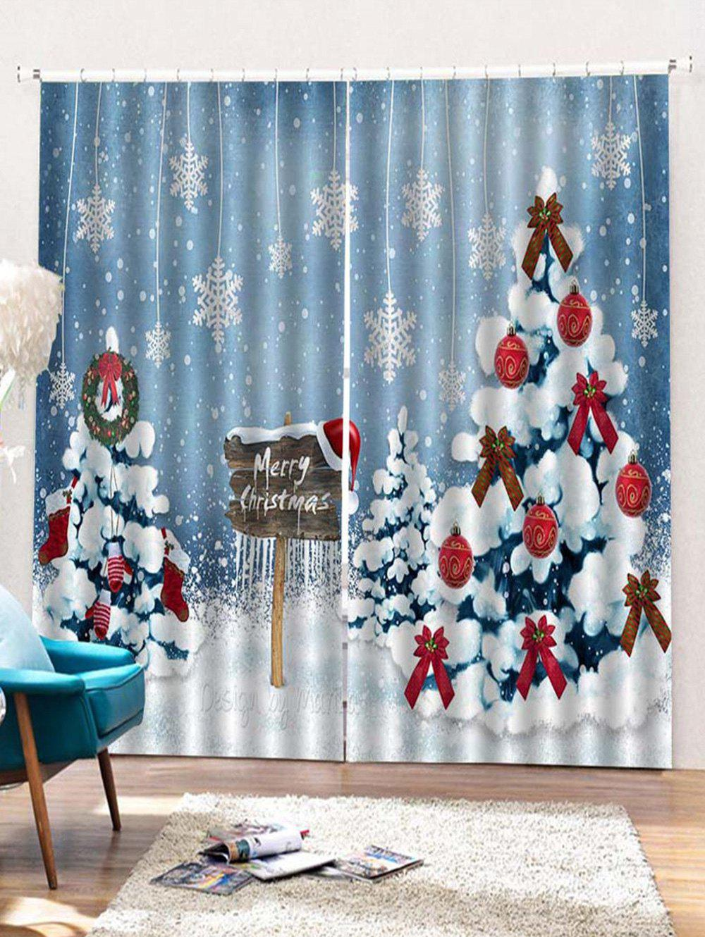 Online 2PCS Merry Christmas Snowflake Tree Pattern Window Curtains