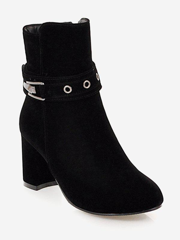 Outfit Plus Size Buckle Strap Heeled Ankle Boots