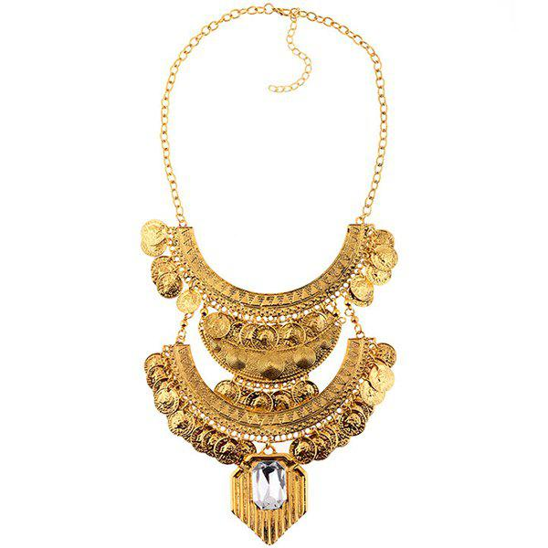 New Europe And The United States Big Retro Coins Gemstone Necklace Clavicle Accessories