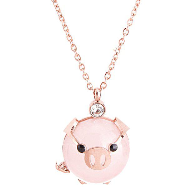 New Rich Pig Clavicle Chain Cute Animal Pink Pig Necklace Titanium Steel Jewelry