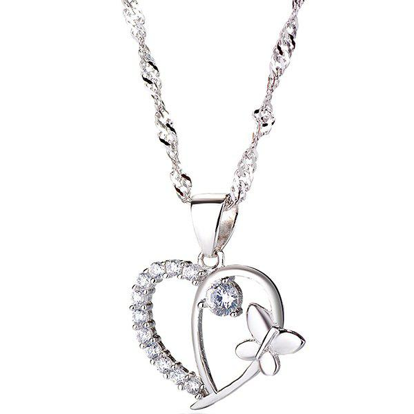 Butterfly Heart Necklace S925 Silver Female Clavicle Chain Korean Jewelry Christmas Gifts