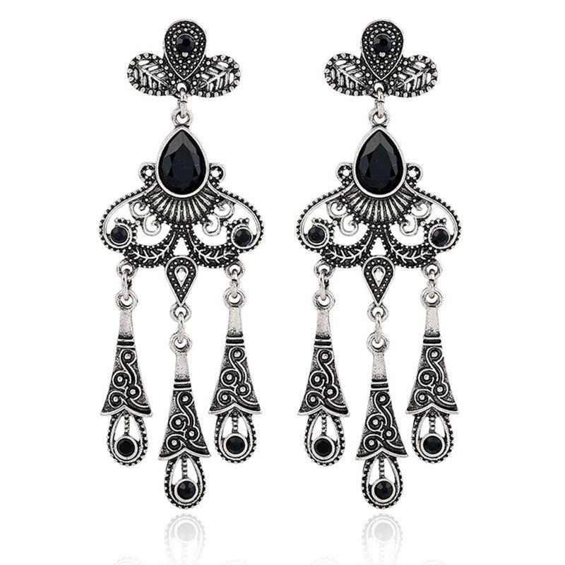 Hot Jewelry Retro Ethnic Wind Hollow Leaves Gem Water Drops Tassel Earrings