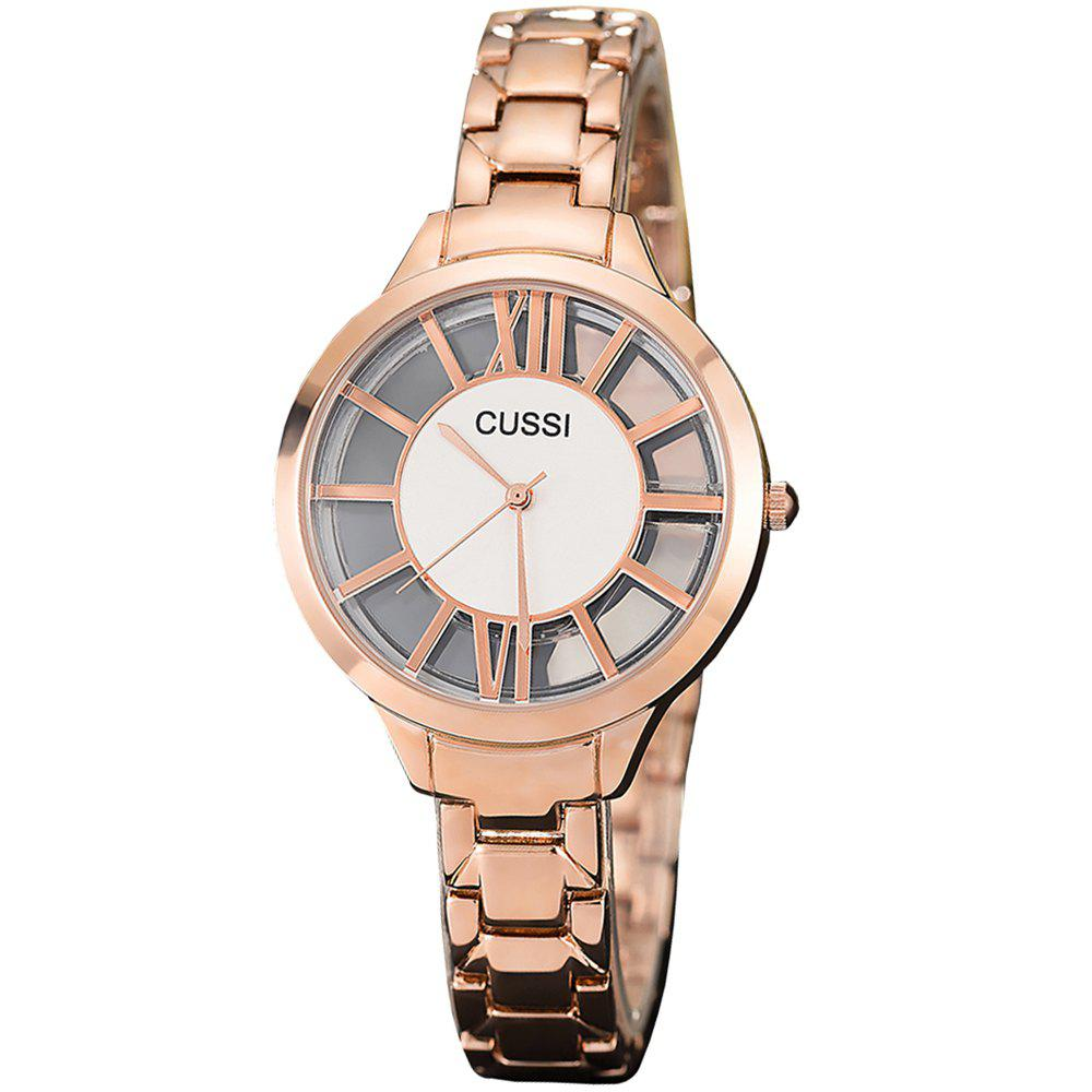 Chic Female Character Hollowed  Watch IGP Gold Color Steel Waterproof Quartz Watch