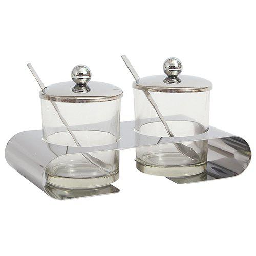 Chic Stainless Steel Glass Double Can Seasoning Tank With Small Spoon Kitchen Utensils Cruet