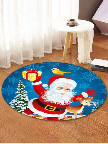 Christmas Santa Elk Pattern Anti-skid Round Floor Rug