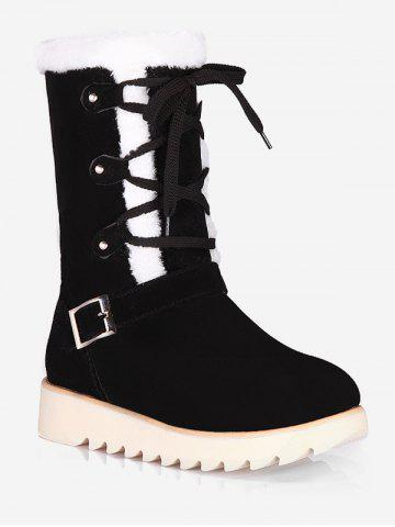 Plus Size Lace Up Snow Mid Calf Boots