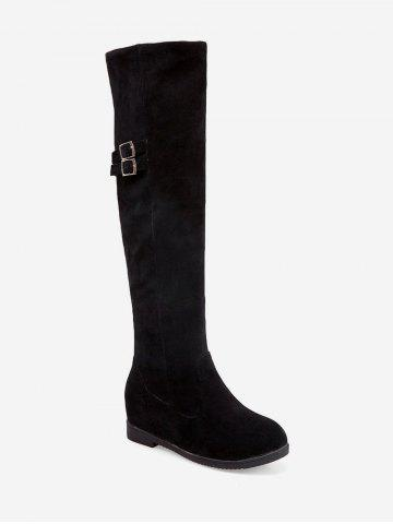 Plus Size Buckle Detail Hidden Heel Knee High Boots