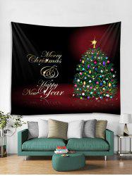 Christmas Tree Greetings Print Tapestry Wall Hanging Decoration -
