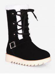 Plus Size Lace Up Snow Mid Calf Boots -