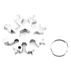 18-in-one Multi-tool Card Combination Compact Portable Outdoor Snowflake Tool Card + Key Ring -