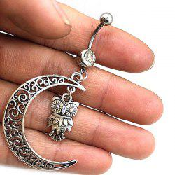 9 - A6033 Moon Owl Navel Ring -