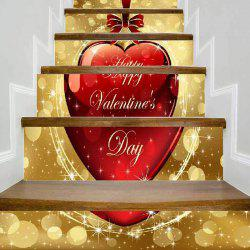 Sticker escaliers de noel design coeur 6pcs -