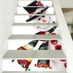 6 Stair Stickers Christmas Decoration Cute Snowman -
