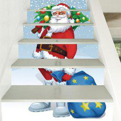 6 Stair Stickers Christmas Decoration Drawing Santa -