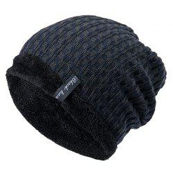 Knit Winter Warm Headgear Mixed Color Plaid Wool Cap -