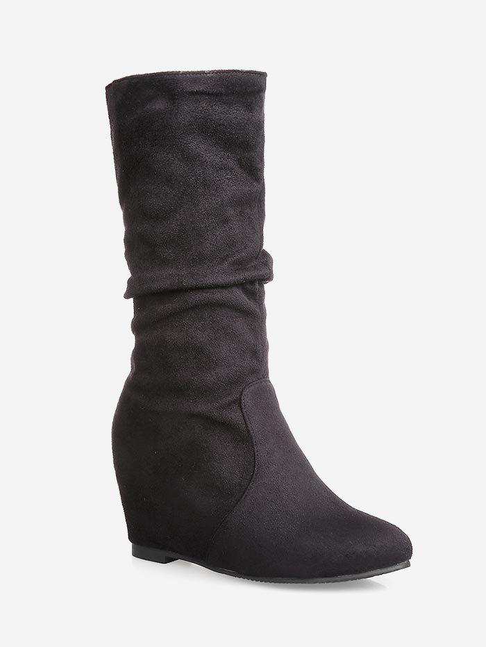 New Plus Size Hidden Wedge Ruched Mid Calf Boots