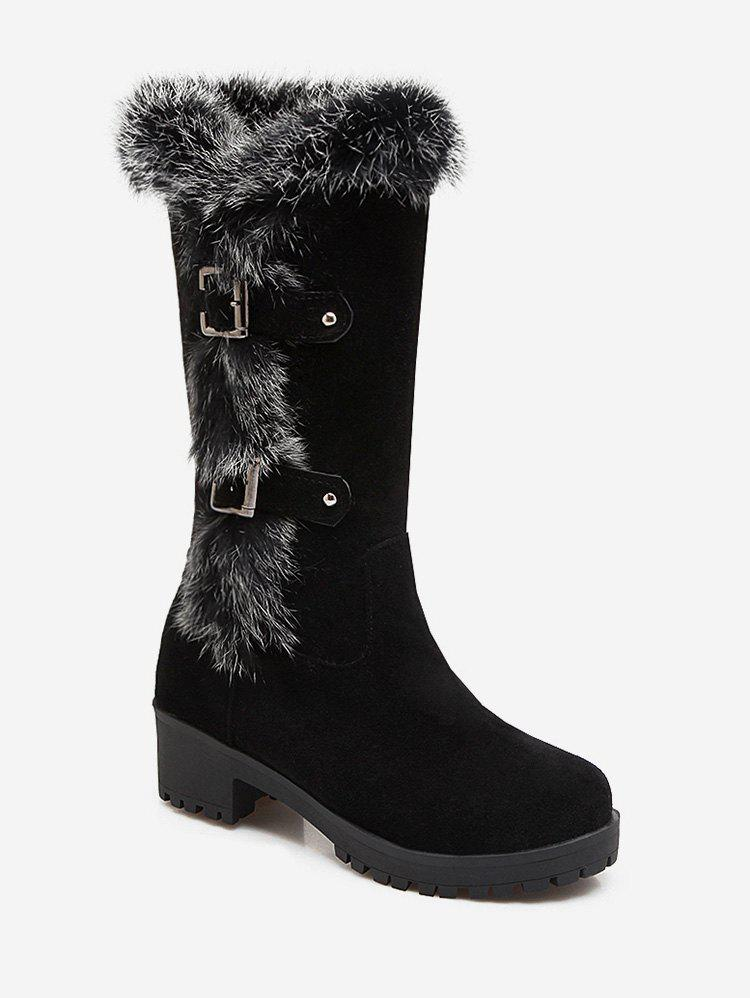 Hot Plus Size Buckle Detail Faux Fur Knee High Boots