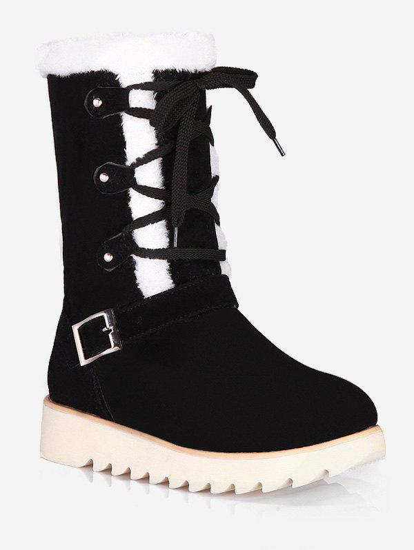 Fashion Plus Size Lace Up Snow Mid Calf Boots