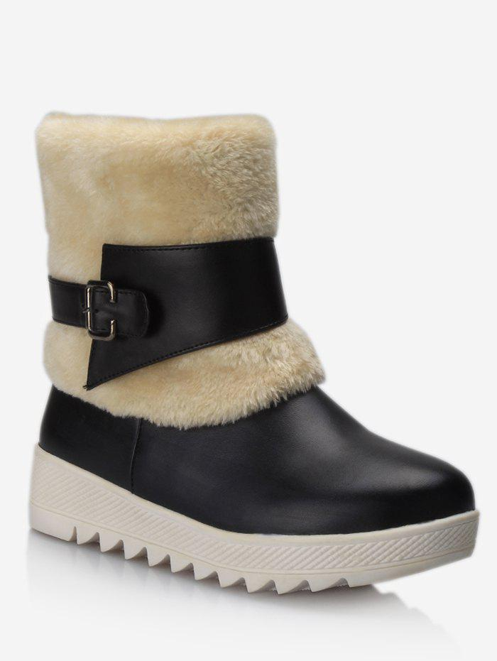 New Plus Size Buckle Wrap Faux Fur Mid Calf Boots