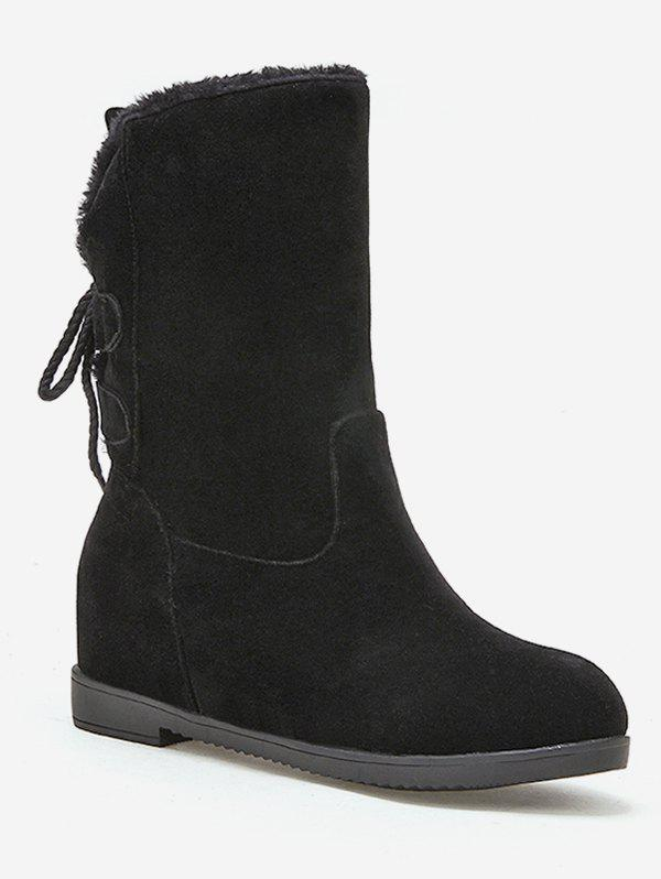 Chic Plus Size Lace Up Back Plush Mid Calf Boots