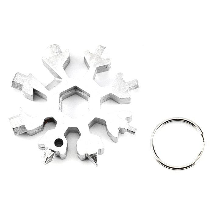 Unique 18-in-one Multi-tool Card Combination Compact Portable Outdoor Snowflake Tool Card + Key Ring