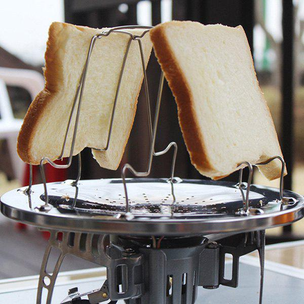 Fancy Stainless Steel Toaster Rack 4 Slice Toast Bread Plate Camping Picnic Grill Folding Collapsible Bread Tray