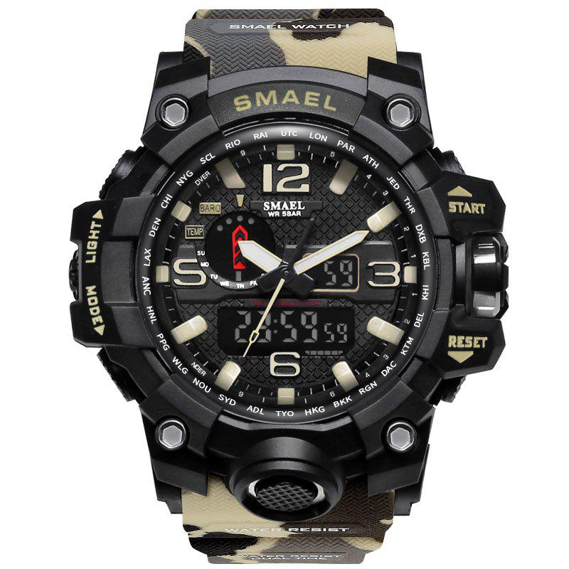 Best SMAEL 1545 Male Camouflage Sports Waterproof Double Display Multi-function LED Watch
