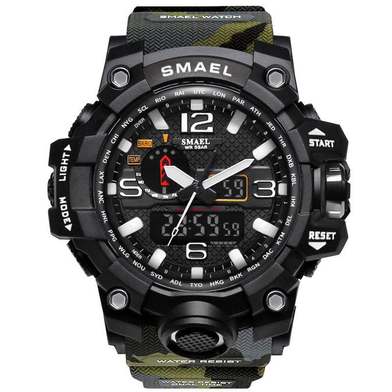 Sale SMAEL 1545 Male Camouflage Sports Waterproof Double Display Multi-function LED Watch