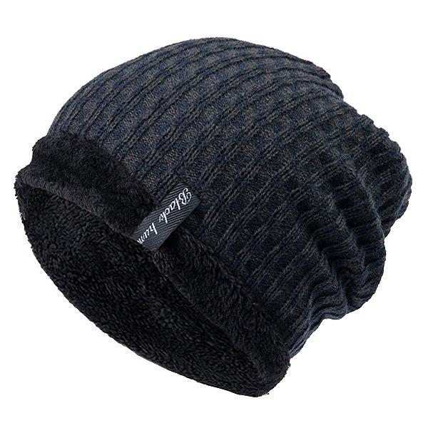 Affordable Knit Winter Warm Headgear Mixed Color Plaid Wool Cap