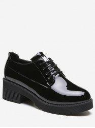 Lacing Chunky Heel Patent Leather Shoes -