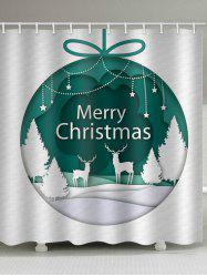 Christmas Forest Ball Print Waterproof Bathroom Shower Curtain -