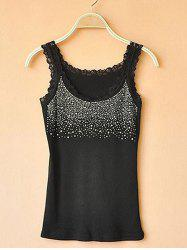 Slim-fit Hot Drilling Diamond Lace Bottoming Vest Camisole -