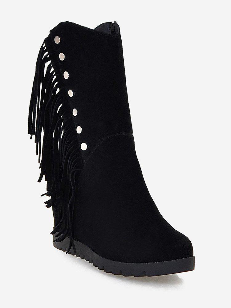 Cheap Plus Size Hidden Wedge Fringed Mid Calf Boots