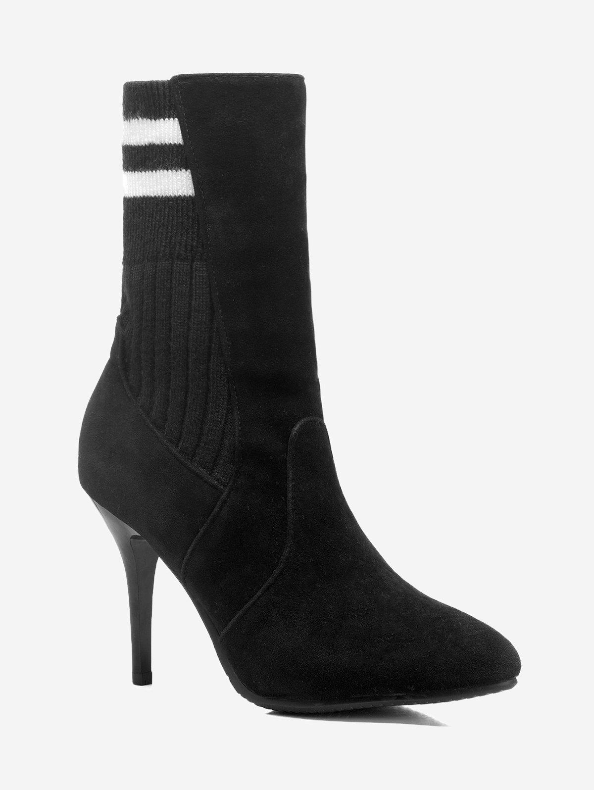 Affordable Plus Size Stiletto Heel Striped Sock Boots