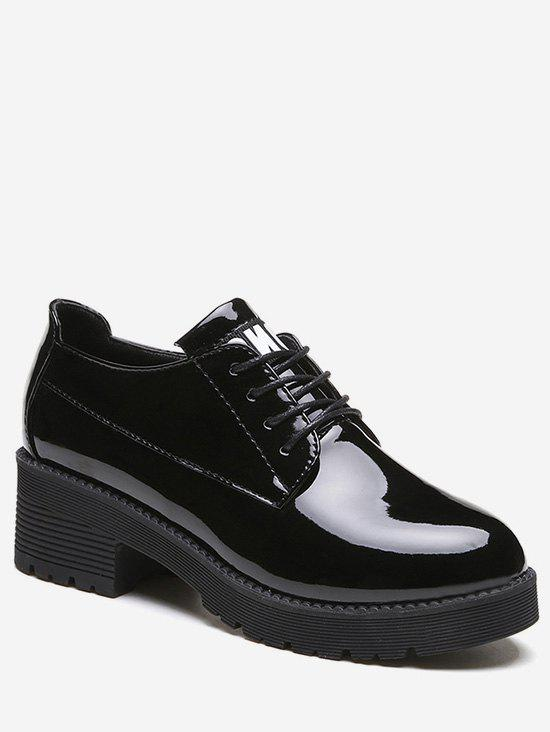Hot Lacing Chunky Heel Patent Leather Shoes
