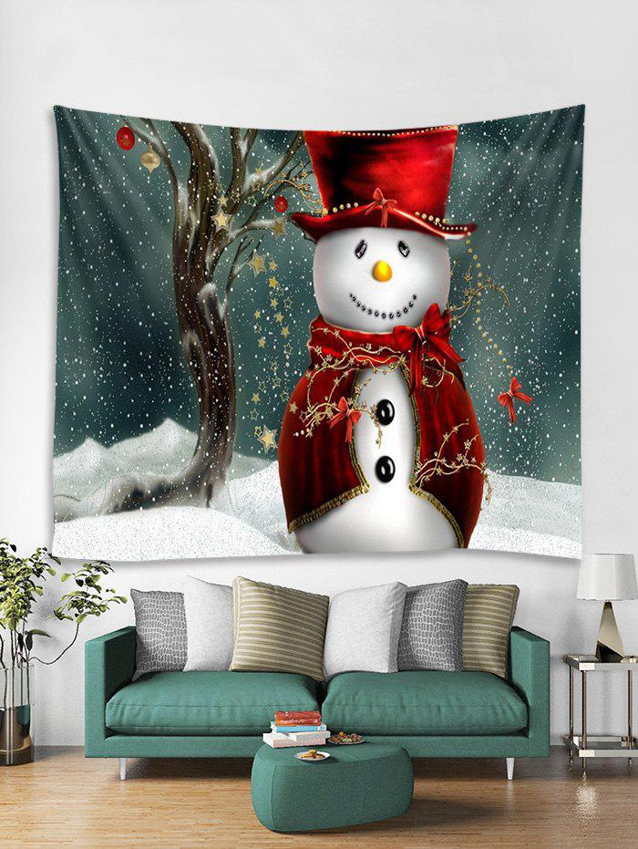 Fashion Christmas Cloak Snowman Print Tapestry Wall Hanging Decoration
