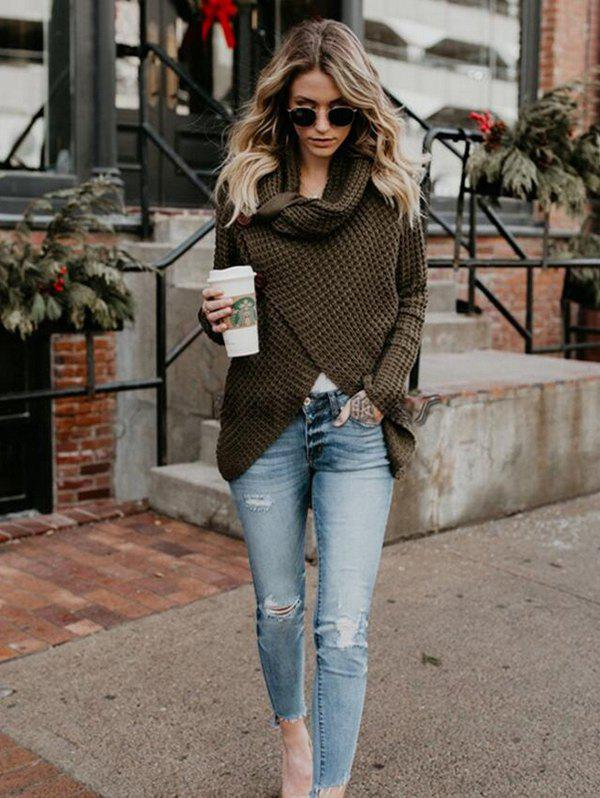 Trendy Women Knitting Turtleneck Solid Color Sweater