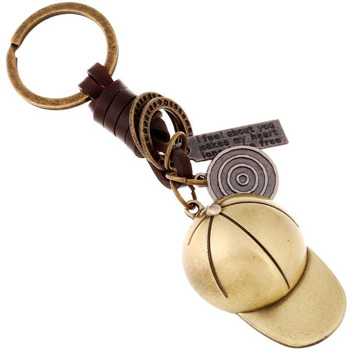 Chic Alloy Baseball Cap Vintage Woven Leather Keychain