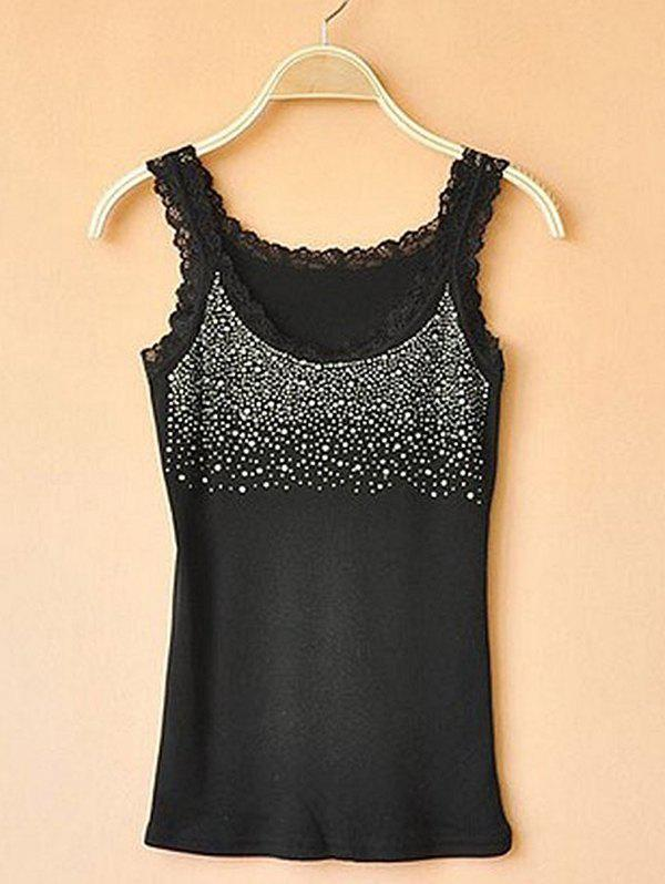 Chic Slim-fit Hot Drilling Diamond Lace Bottoming Vest Camisole
